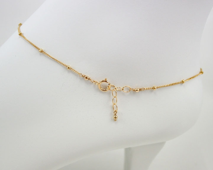 delicate gold anklet bracelet gold beaded chain 187 gosia
