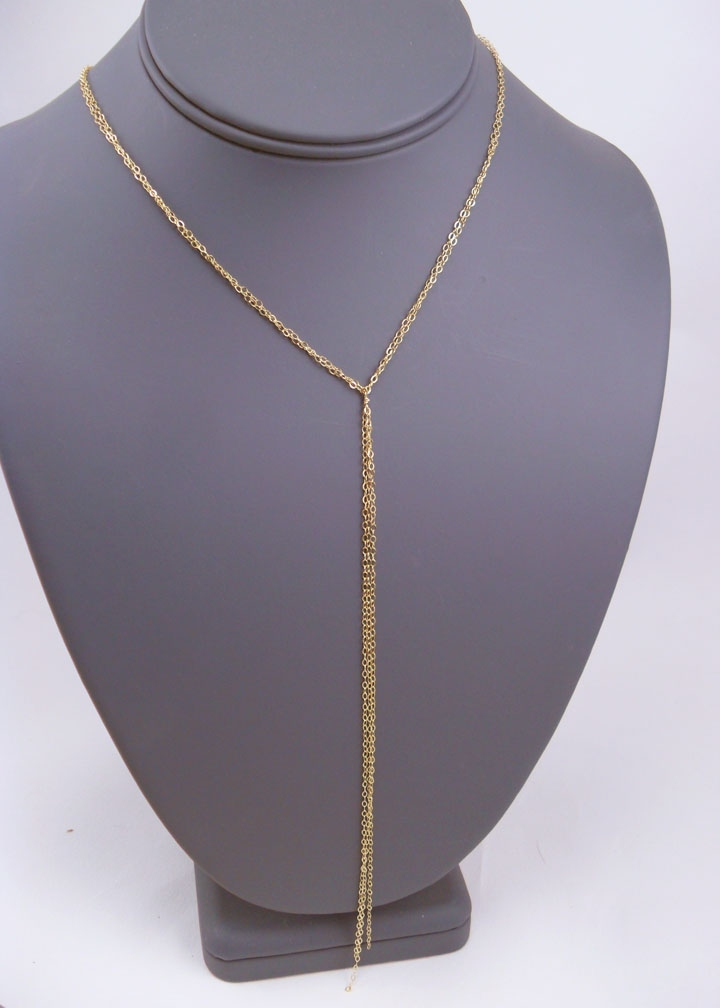 Simple Gold Lariat Necklace 187 Gosia Meyer Jewelry