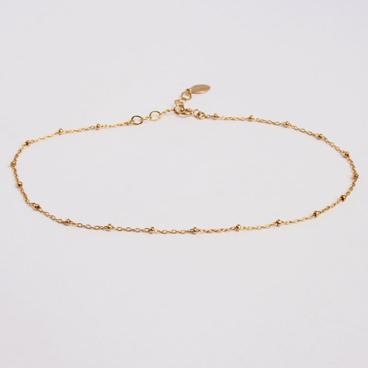 bed877e85 Delicate Gold Anklet Bracelet, Gold Beaded Chain » Gosia Meyer Jewelry