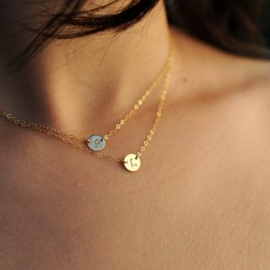 Double Layered Initial Necklaces