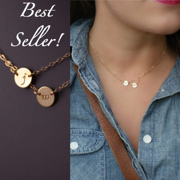double layered initial necklace best seller