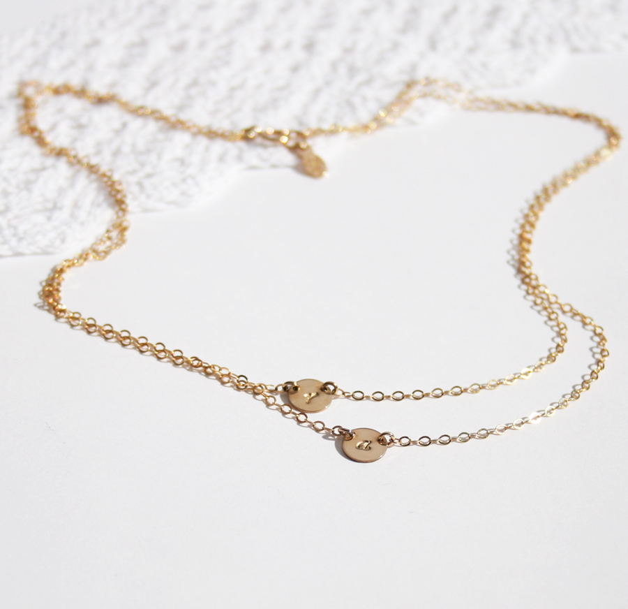 a8bb9484cd239 Double Layered Initial Necklace, Two Petite Discs » Gosia Meyer Jewelry