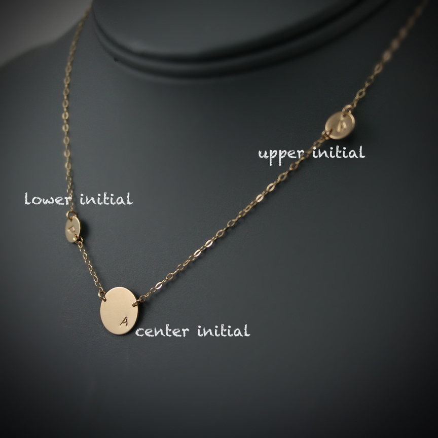 Asymmetrical initial necklace one large disc and two tiny discs asymmetrical initial necklace mozeypictures Image collections