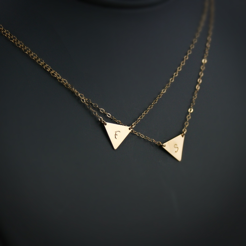Double Layered Initial Necklace, Two Triangle Initials