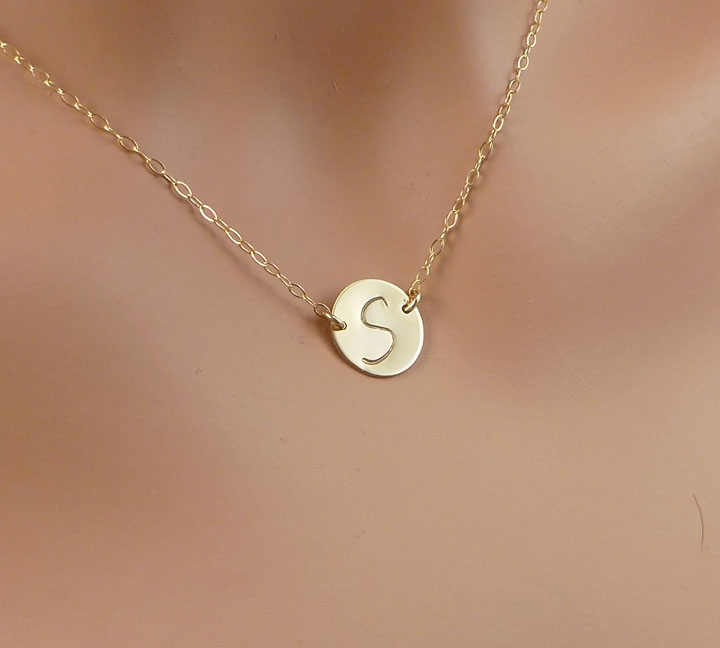 Initial Necklace Center Stamped 187 Gosia Meyer Jewelry