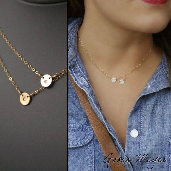 double layered initial necklace Amy_004