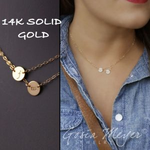double layered initial 14k solid gold white