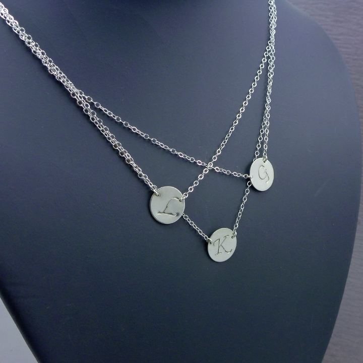 layered initial necklace three large discs 187 gosia