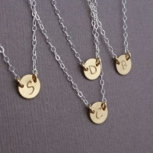two tone initial necklace