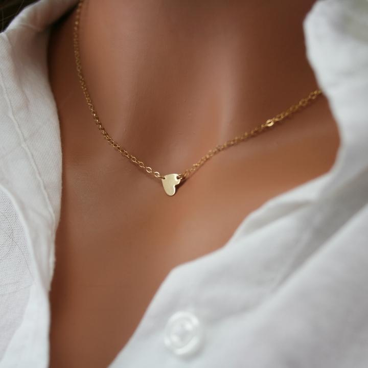 Sideways Gold Tiny Heart Necklace 187 Gosia Meyer Jewelry