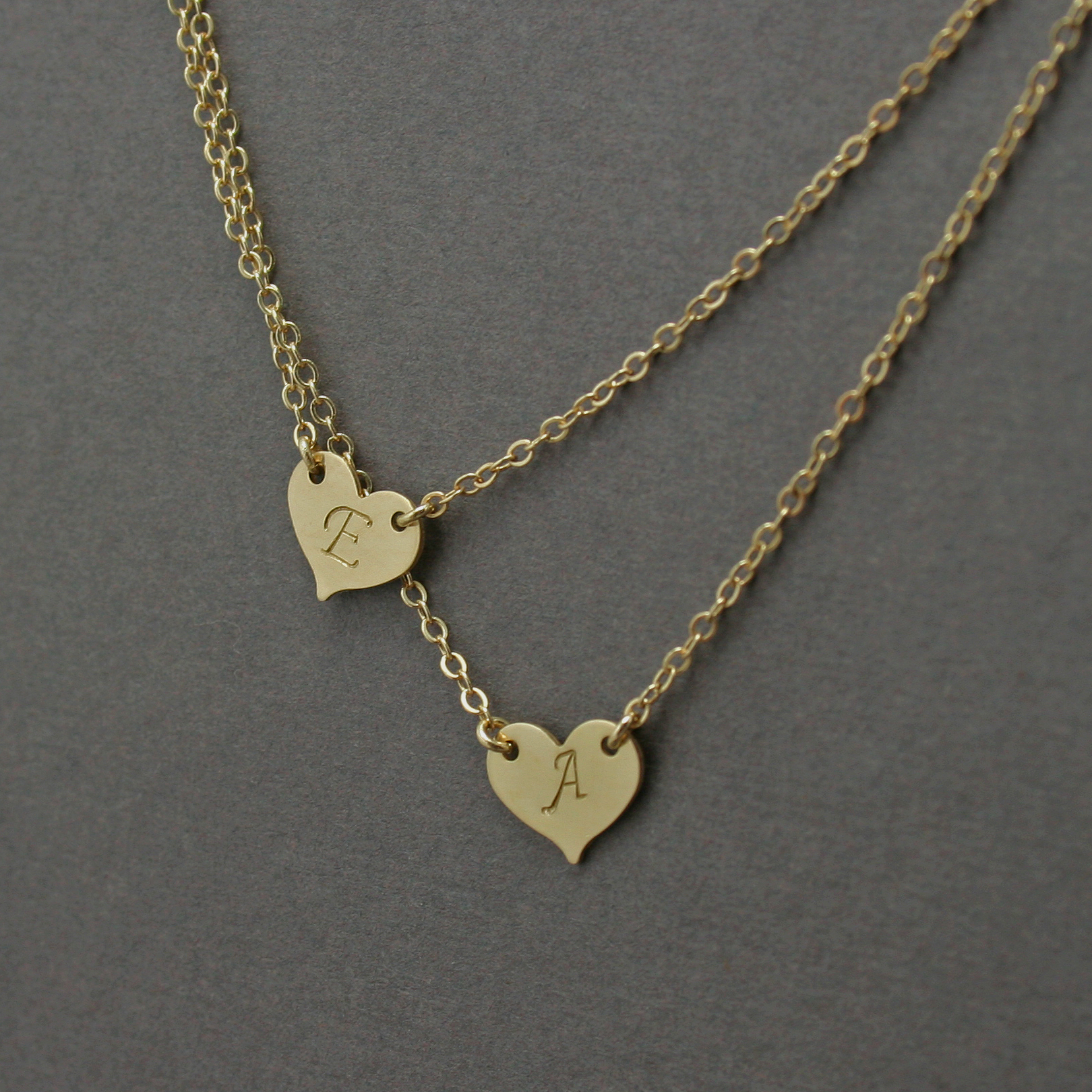 Double layered initial necklace two hearts gosia meyer jewelry double layered initial necklace two hearts aloadofball Image collections
