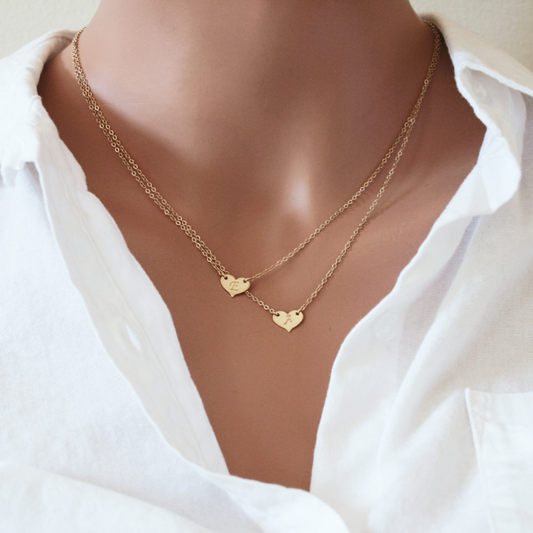 Double Layered Initial Necklace Two Hearts 187 Gosia Meyer