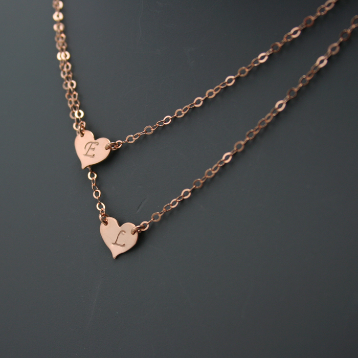 Double Layered Initial Necklace, Two Hearts » Gosia Meyer