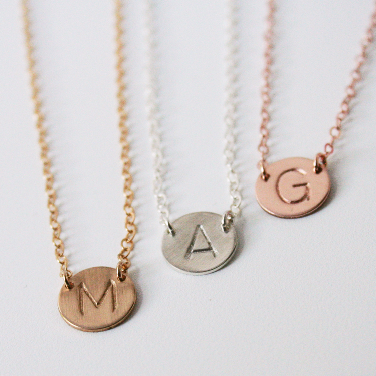 Initial Disc Necklace Single Charm Medium Size Disc