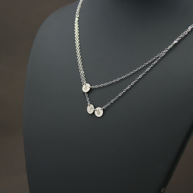 Double Layered 3 Petite Discs Initial Necklace Three