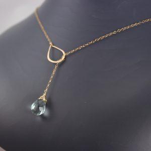 Aquamarine Quartz Lariat Necklace