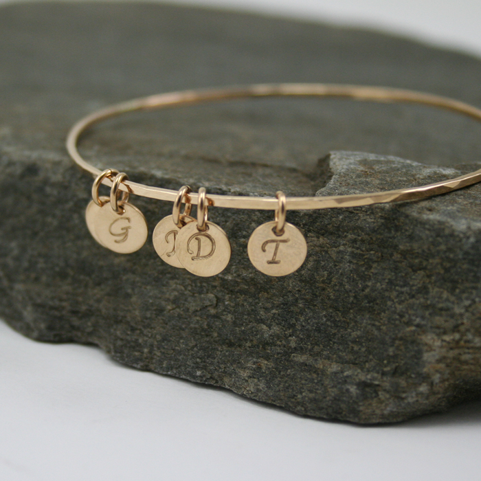 Initial Charms For Bracelets: Personalized Skinny Hammered Bangle With Initial Charms