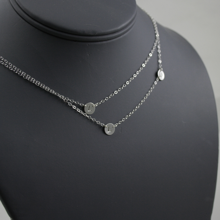 Double Layered Initial Necklace Three Petite Discs