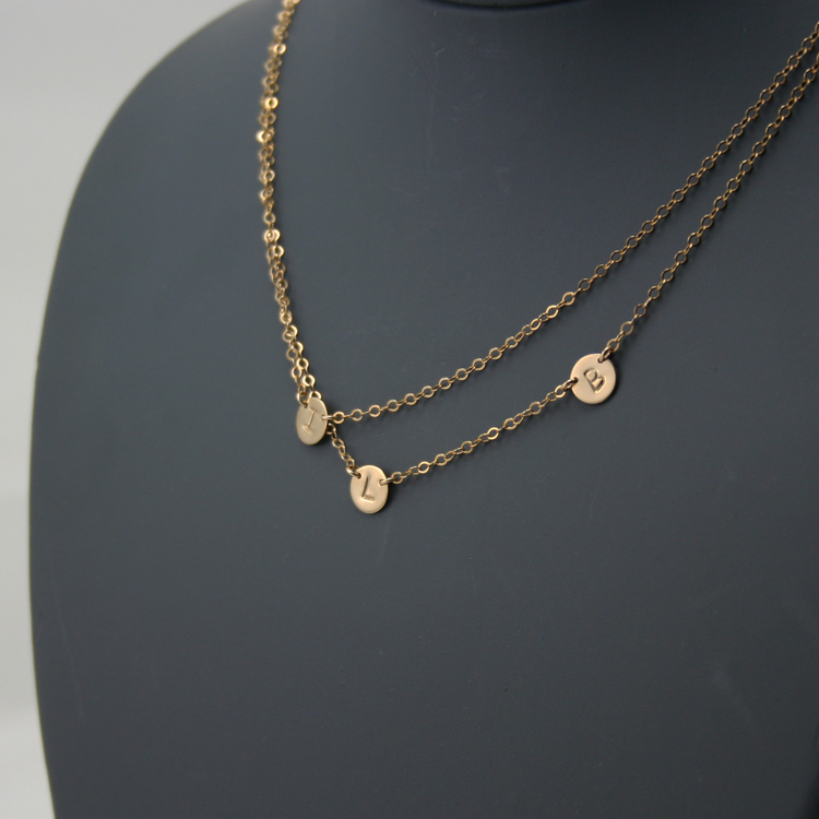 Double Layered Initial Necklace, Three Petite Discs