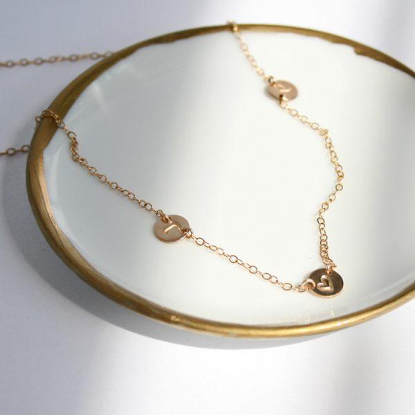 Asymmetrical Petite Initials Necklace