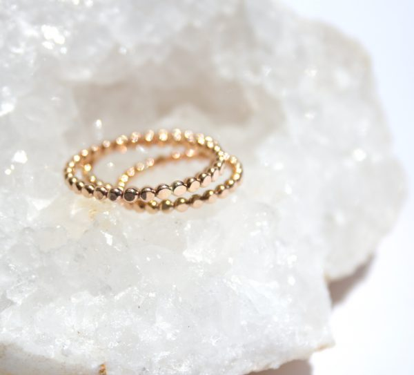 Thin Stacking Dotted Gold Ring