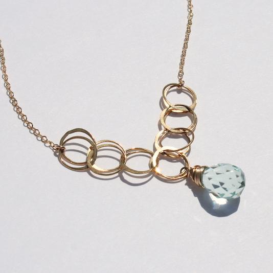Aquamarine Quartz Gold Circles Necklace