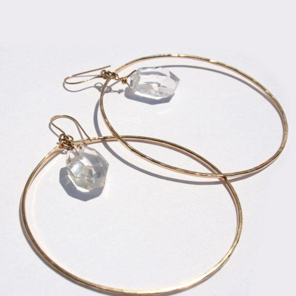 Crystal Nugget Hoop Earrings