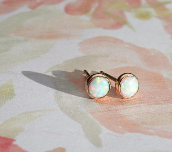 silver or gold opal stud earrings