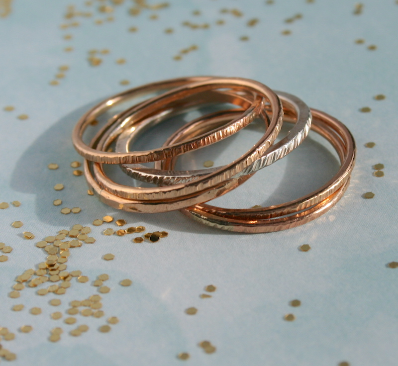 Mixed Metals Textured Interlocking Stacking Rings Sterling Silver /& Gold-Filled
