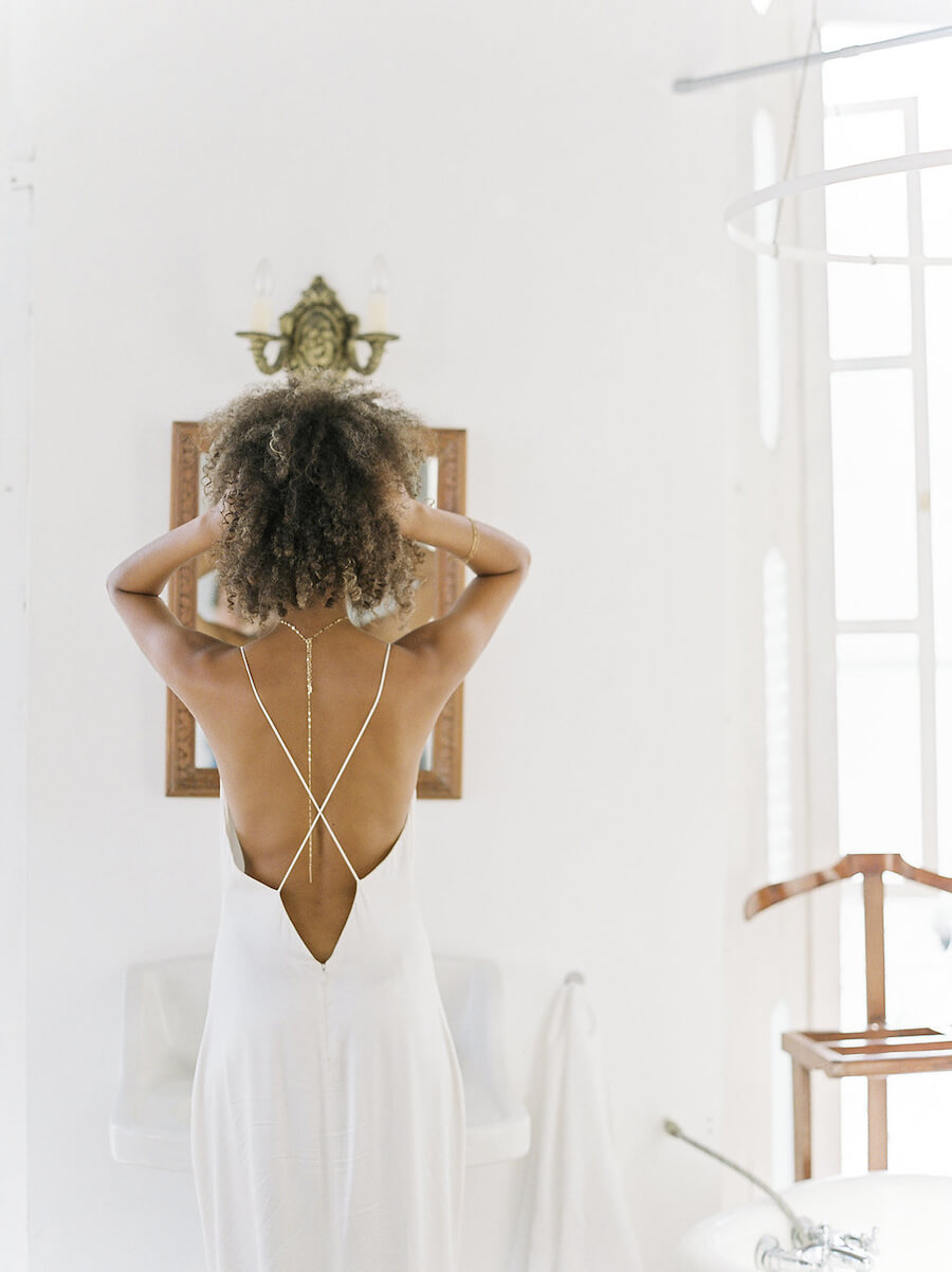 Bridal Lariat Necklace - Back View